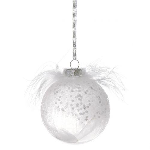 Weihnachtskugeln Weiß.Weihnachtskugel Mit Feder Weiß ø7 5cm 6st