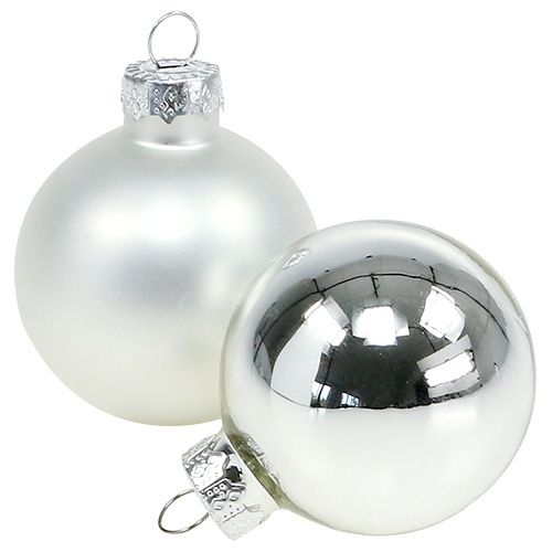 Weihnachtskugel Glas Ø6cm Silber Mix 24St