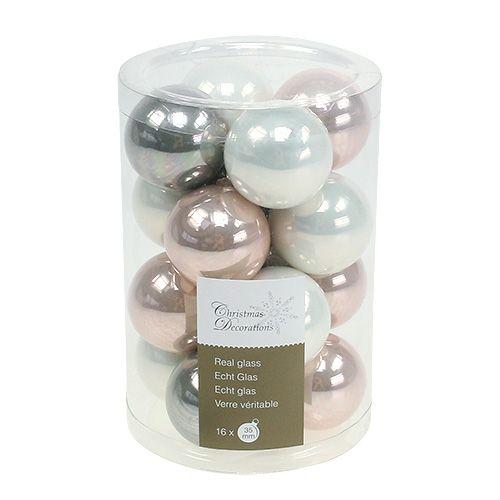 Weihnachtskugel glas 3 5cm rosa grau creme 16st for Weihnachtskugeln glas grau