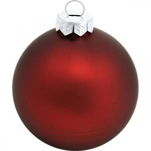 Weihnachtskugel, Christbaumschmuck, Glaskugeln Weinrot H8,5cm Ø7,5cm Echtglas 12St