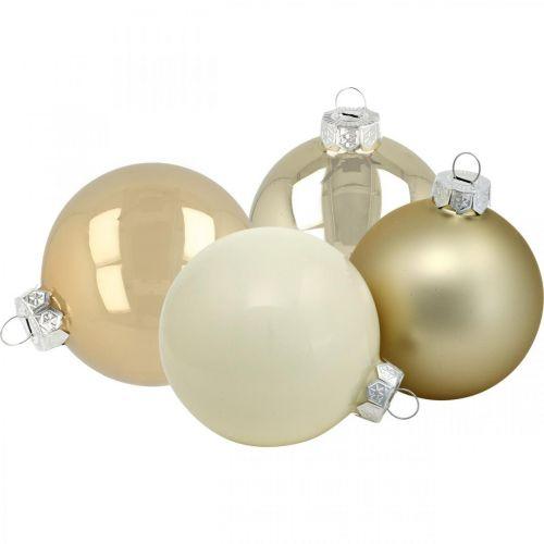 Christbaumkugeln, Baumschmuck, Glaskugeln Weiß/Perlmutt H8,5cm Ø7,5cm Echtglas 12St