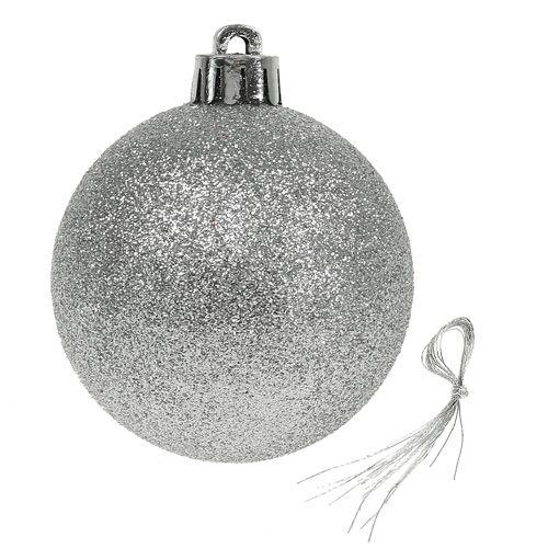 Weihnachtskugel Kunststoff Silber 6cm 10St