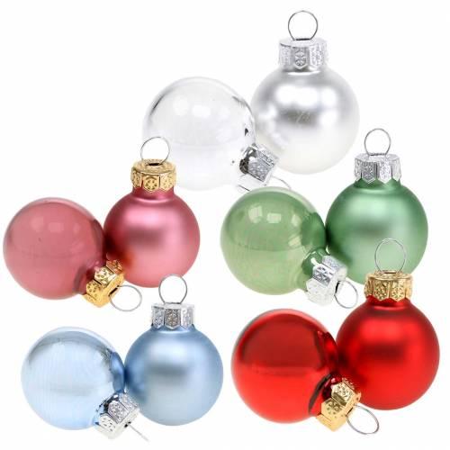 Mini Weihnachtskugel Matt /Glänzend sortiert Ø2,5cm 24St Verschiedene Farben