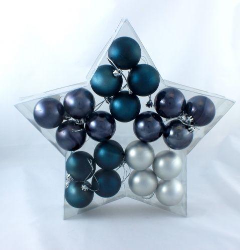 weihnachtskugel plastik 5cm stahlblau 20st preiswert. Black Bedroom Furniture Sets. Home Design Ideas