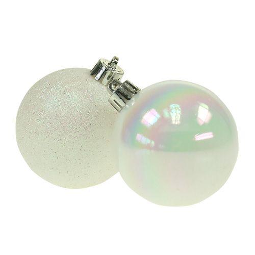 weihnachtskugeln plastik wei perlmutt 6cm 10st preiswert online kaufen. Black Bedroom Furniture Sets. Home Design Ideas