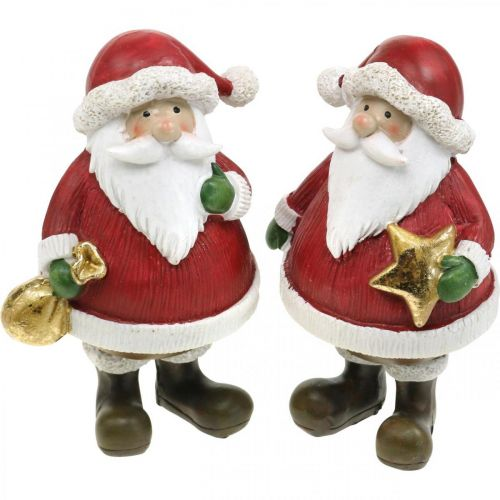 Deko Figur Weihnachtsmann mit Stern/Säckchen H13cm 2St