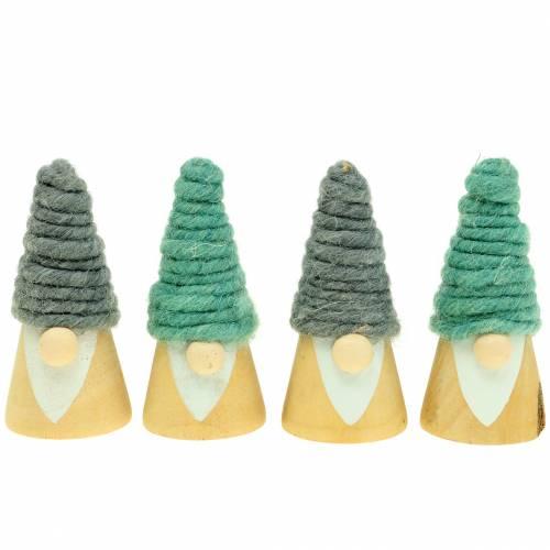 Weihnachtsdeko Holzfigur Wichtel mit Wollmütze 7cm 8St