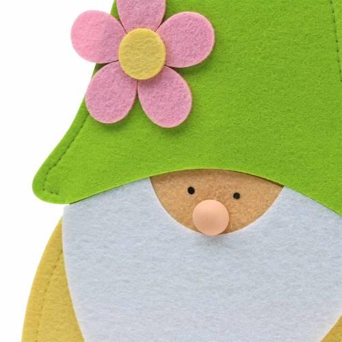Wichtel Zwerg Stehend Filz Grün, Gelb, Weiß, Rosa 33cm × 7cm H81cm für Schaufenster