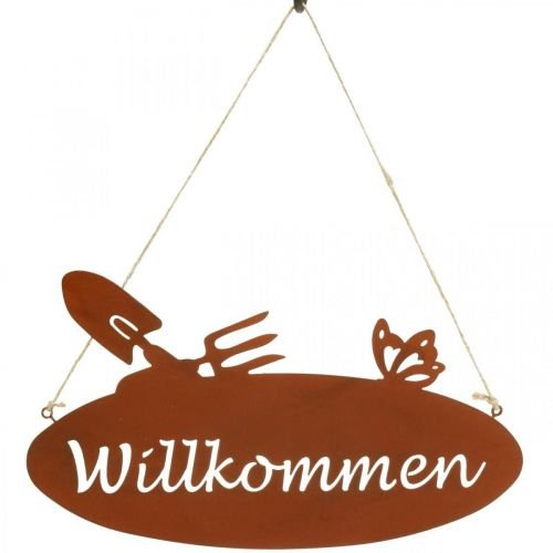 """""""Willkommen"""" Schild Rost Deko Schild zum Hängen Metall 28,5x15cm 3St"""