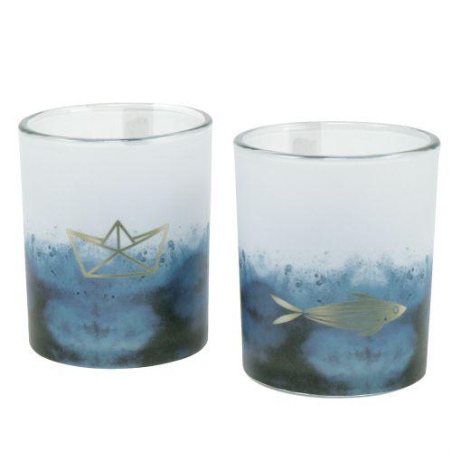 Windlichter Blau-Weiß mit Boot und Fisch Ø6cm
