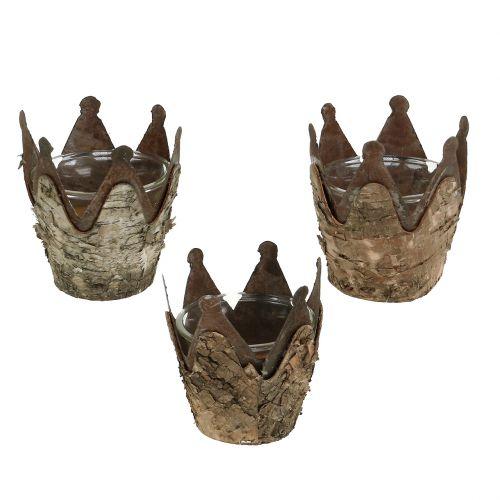 Windlicht Krone mit Birke und Metall Ø7cm H7,5cm 3St
