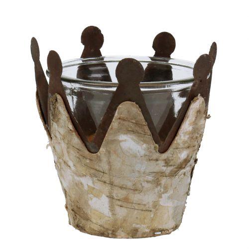 Windlicht Krone mit Birke und Metall Ø10,5cm H10,5cm 1St