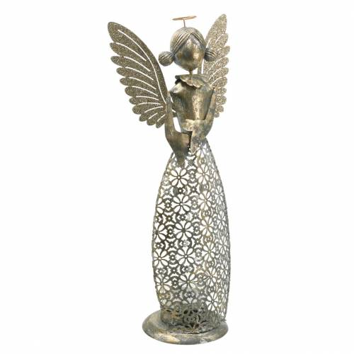 Deko Engel Metall mit Windlicht Antik-Golden Ø13,5 H33,5cm