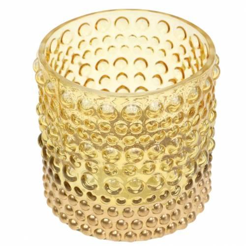 Windlicht aus Glas Gelb, Gold Ø8,5cm H8cm 4St