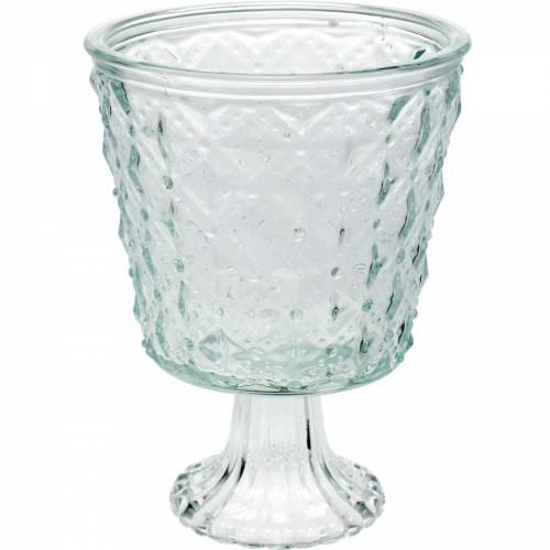 Windlicht Glas mit Fuß Klar Ø13,5cm H18cm Tischdeko Outdoor