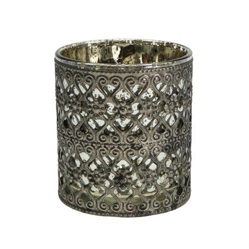 Windlicht Glas mit Orient-Muster Silber Ø7,5cm H8cm