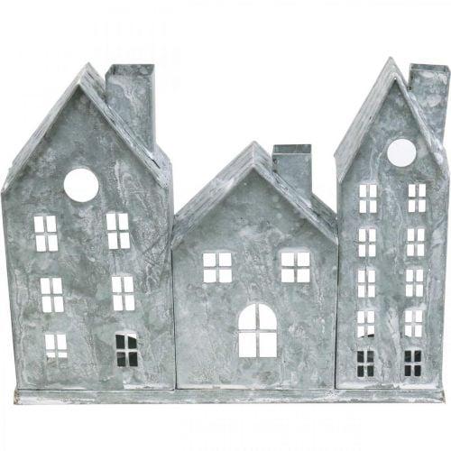 Fensterdeko Weihnachten, Windlicht, Diorama Hausreihe, Metalldeko Silbern Shabby Chic L37,5cm H20cm