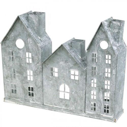 Fensterdeko Weihnachten, Windlicht, Diorama Hausreihe, Metalldeko Silbern Shabby Chic L20cm H20cm