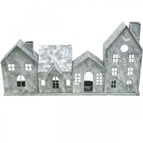 Lichterhäuser, Metallwindlicht, Fensterdeko, Advent, Silbern Shabby Chic L37,5cm H20cm