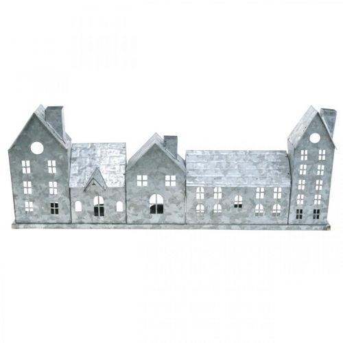 Häuserzeile, Metalldeko zum Beleuchten, Adventsdeko, Windlicht Silbern L52cm H20cm