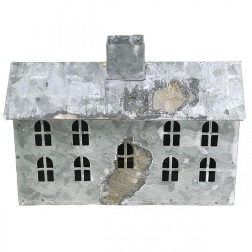 Windlicht Haus Metall, Deko für Weihnachten, Shabby Chic, Weiß gewaschen, Antik-Look H12,5cm L17,5cm