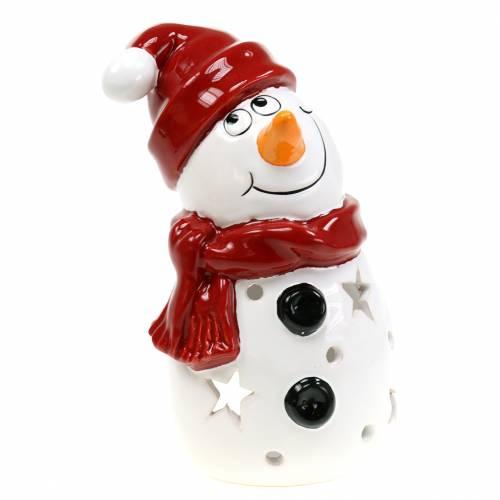 Windlicht Schneemann rote Mütze 20cm