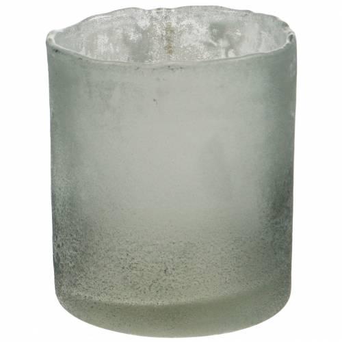 Glaswindlicht Grau gefrostet Ø8,5cm H9,5cm