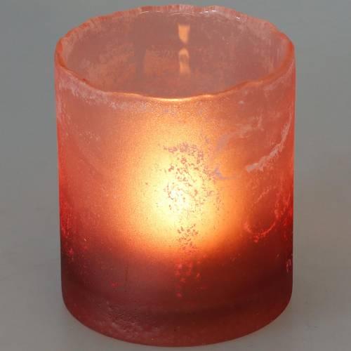 Glaswindlicht Rot gefrostet Ø8,5cm H9,5cm