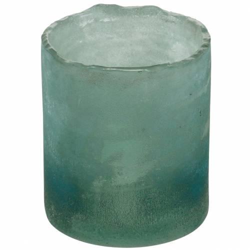 Glaswindlicht Grün gefrostet Ø8,5cm H9,5cm