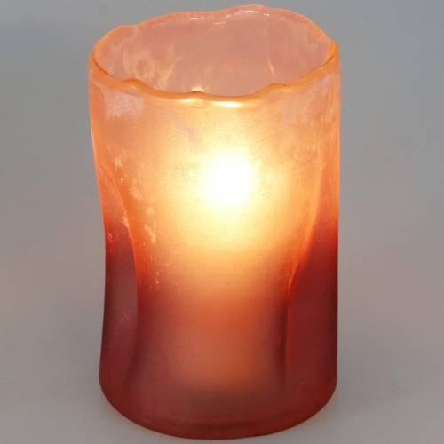 Glaswindlicht Rot gefrostet Ø10cm H15cm