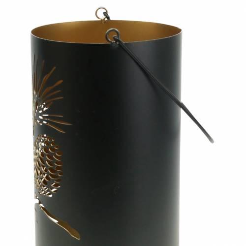 Deko Laterne rund mit Henkel Wald Metall Schwarz, Gold Ø16cm H26cm
