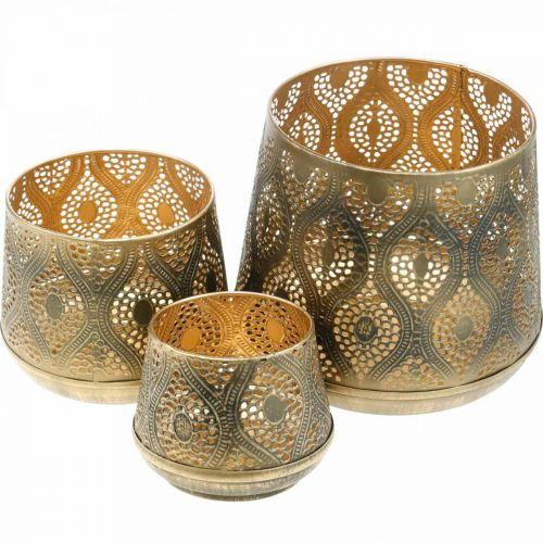 Orientalisches Windlicht-Set, Metall-Laterne, Kerzendeko Golden, Rustikal Ø25/19/14cm H23,5/17/12,5cm