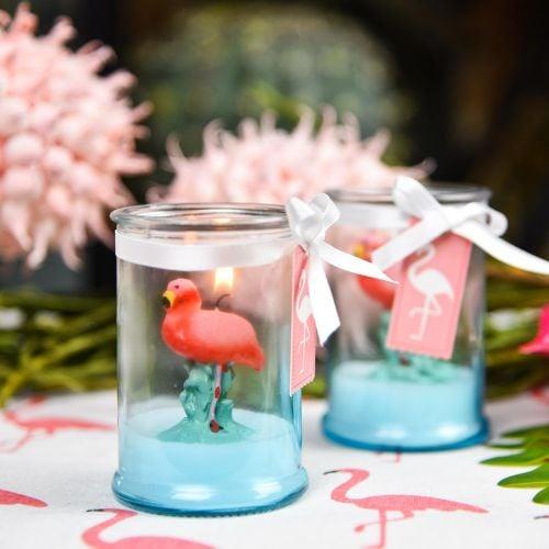 Windlichtglas mit Flamingo-Kerze 9cm