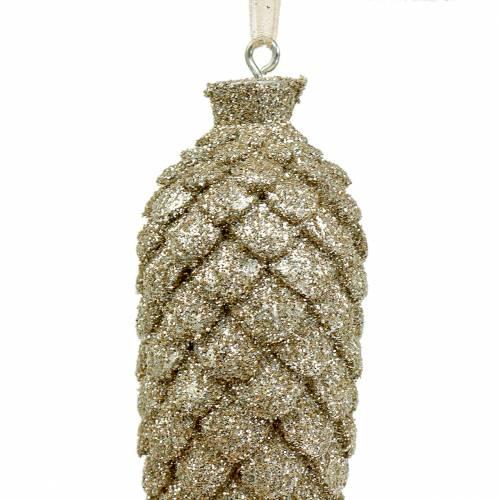 Christbaumschmuck Zapfen Gold Glitter 8,5cm 6St