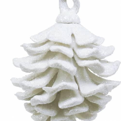 Christbaumschmuck Zapfen Weiß Glitter 9cm 6St