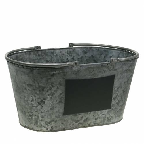 Pflanzgefäß Zinkwanne mit Henkeln Oval Grau H20cm