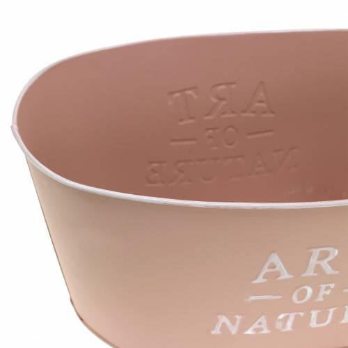 Blumenschale oval Zink Altrosa 27×18cm H12,5cm