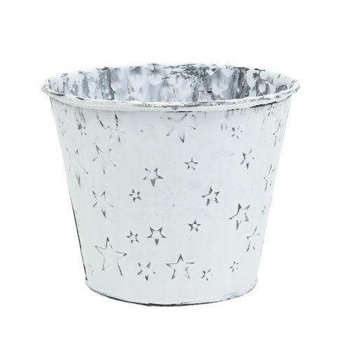 Zinktopf mit Sternen Ø12cm H10cm Weiß gewaschen 6St