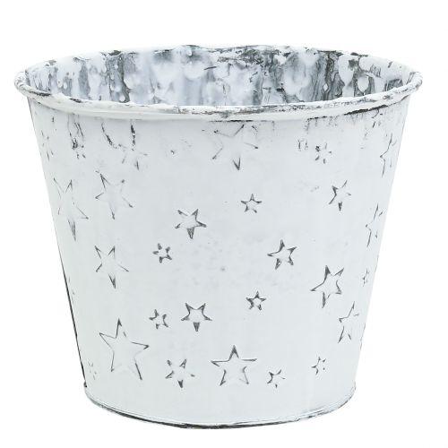 Zinktopf mit Sternen Ø16cm H14cm Weiß gewaschen