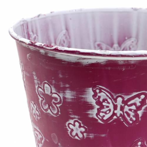 Zinktopf mit Schmetterlingen Pink Ø15cm H13cm