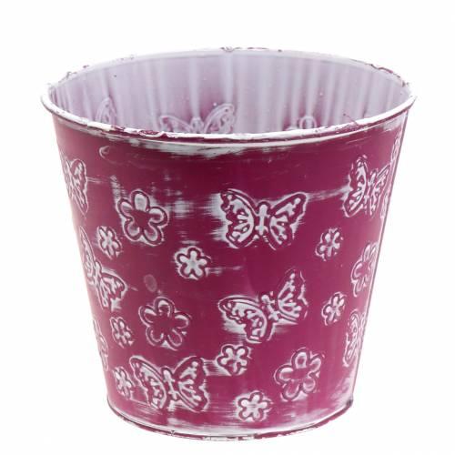 Zinktopf mit Schmetterlingen Pink Ø18cm H17,5cm