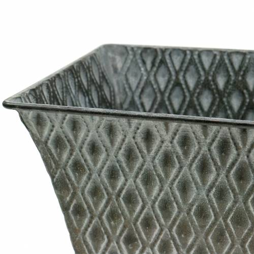 Zinkgefäß mit Rautenmuster eckig Antik 35,5cm x 14,5cm / 32,5cm x 11,5cm 2St