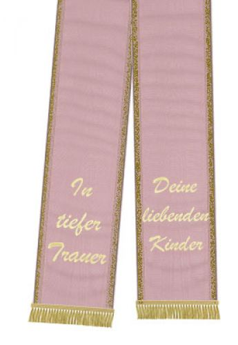 Trauerband bedruckt 125mm x 75cm altrosa