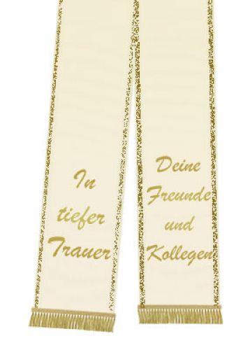 Trauerband bedruckt 125mm x 75cm creme