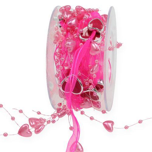 Perlenband mit herzen pink 10mm 2m preiswert online kaufen for Pink deko