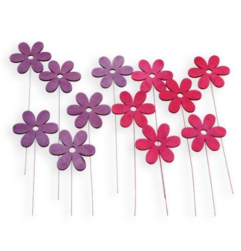 deko holzblume am draht 8cm pink lila 12st preiswert online kaufen. Black Bedroom Furniture Sets. Home Design Ideas