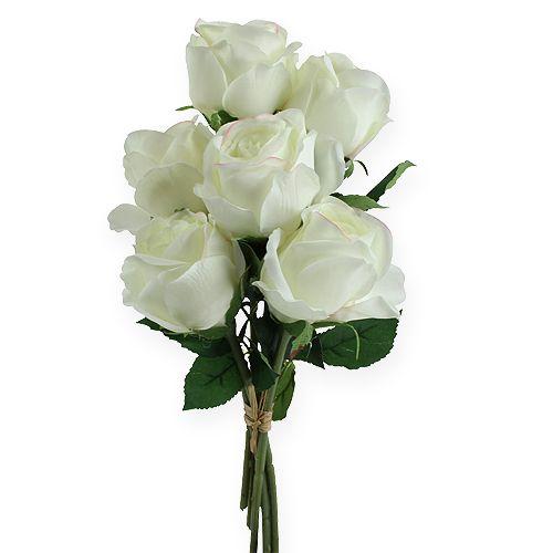 deko rosen wei 32cm 6st preiswert online kaufen. Black Bedroom Furniture Sets. Home Design Ideas