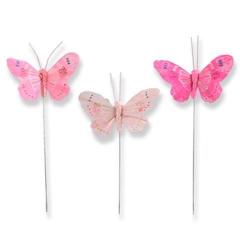 deko schmetterlinge am draht rosa t ne 8cm preiswert online kaufen. Black Bedroom Furniture Sets. Home Design Ideas