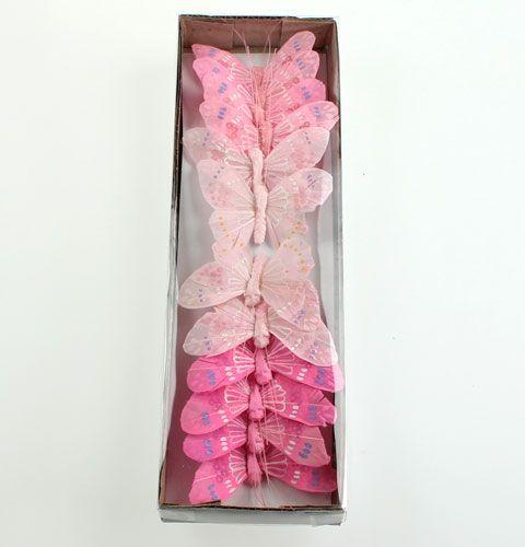 deko schmetterlinge am draht rosa t ne 8cm preiswert. Black Bedroom Furniture Sets. Home Design Ideas