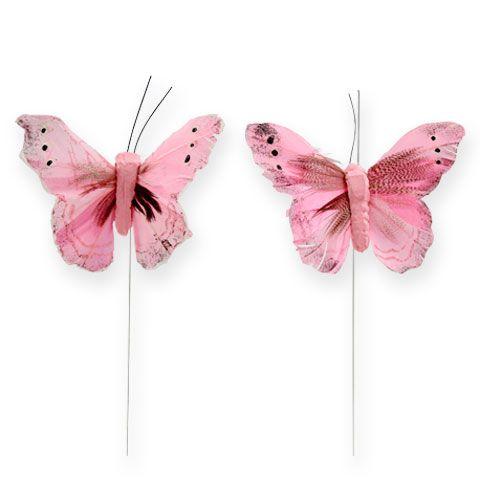 Deko-Schmetterling am Draht Rosa 8cm 12St